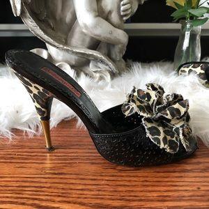 Betsey Johnson Leopard Flower Heels